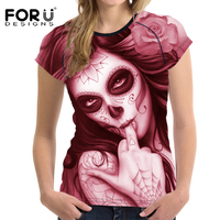 FORUDESIGNS Punk Style Women Summer T Shirt Casual Short Sleeved Women Shirts 3D Skull Ladies Tees