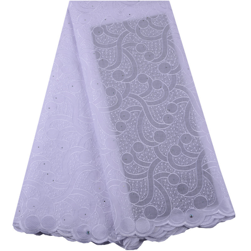 Latest 2019 High Quality African Cotton lace White Trim Swiss Cotton Lace African Voile Lace Fabric