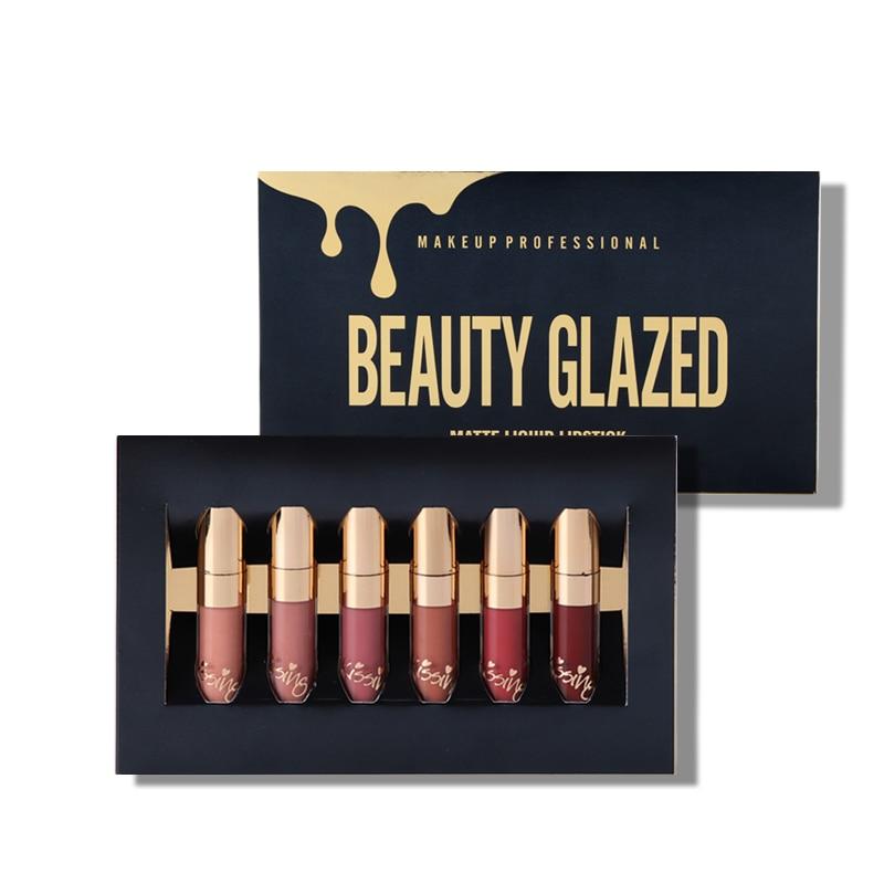 BEAUTY GLAZED Lip Makeup Matte Lip Gloss Easy To Wear Long-lasting Lipstick Waterproof Lip Cometics 6 Colors In 1 Set
