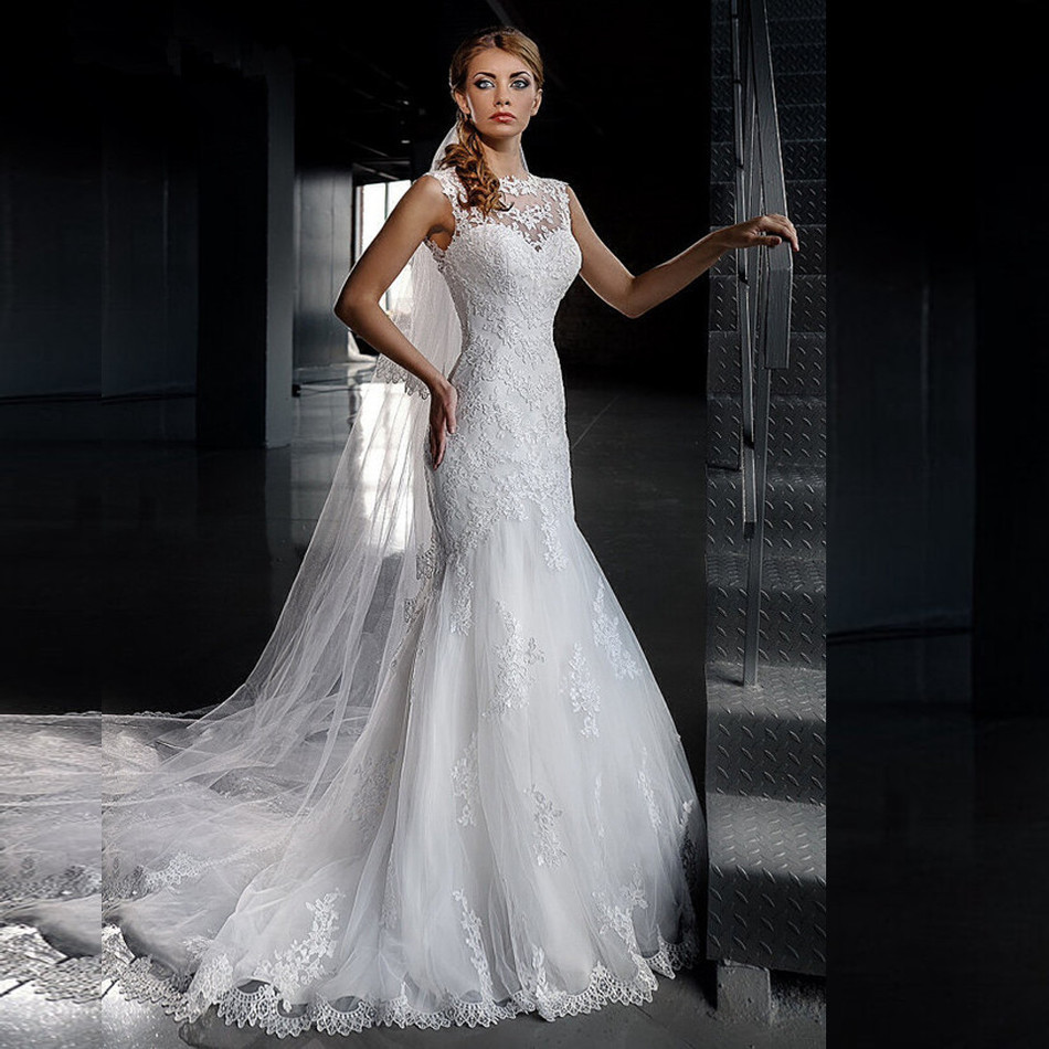 Wedding dress cheap back mermaid lace o neck court train for Cheap wedding dresses cape town