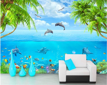 beibehang High-end home decorative painting wallpaper creative seaside dolphins dance 3D background wall papel de parede tapety