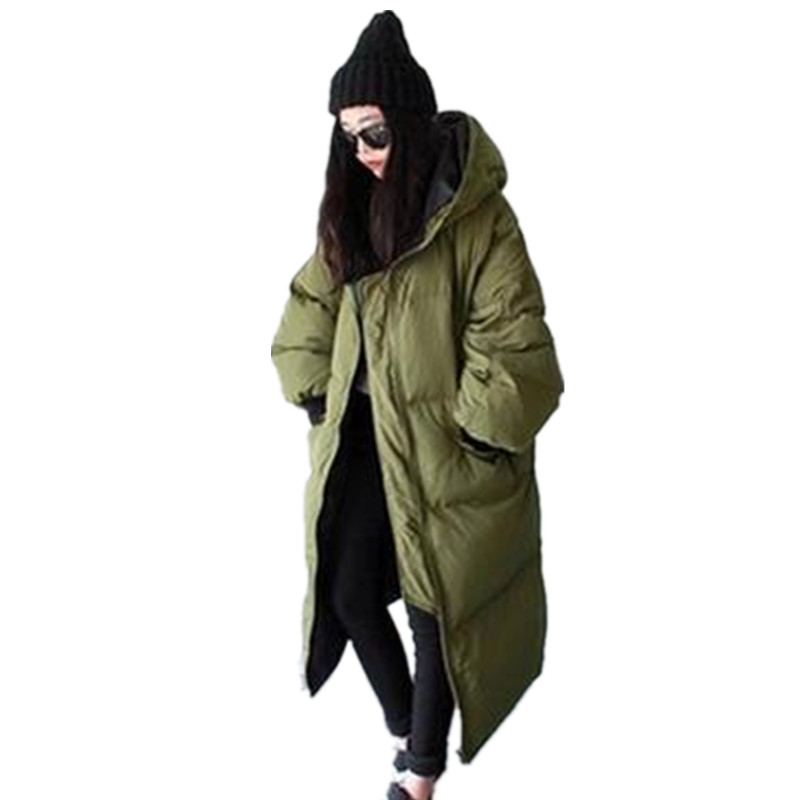 New Fashion Women Parka Winter Plus Long Jacket Female Army Green Black Solid  Down Parkas Coat Thick Hoody Winter Down Coat 262