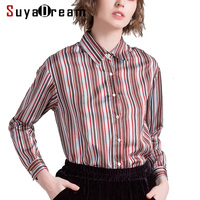 Women Blouse 50 Real Silk 50 Cotton Long Sleeved Striped Casual Blouses 2018 Spring New Top