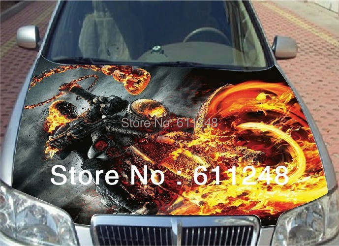 Car body accessories decorative stickers Deathcoaster Specter pattern bonnet sticker Waterproof inkjet materials 3D sticker