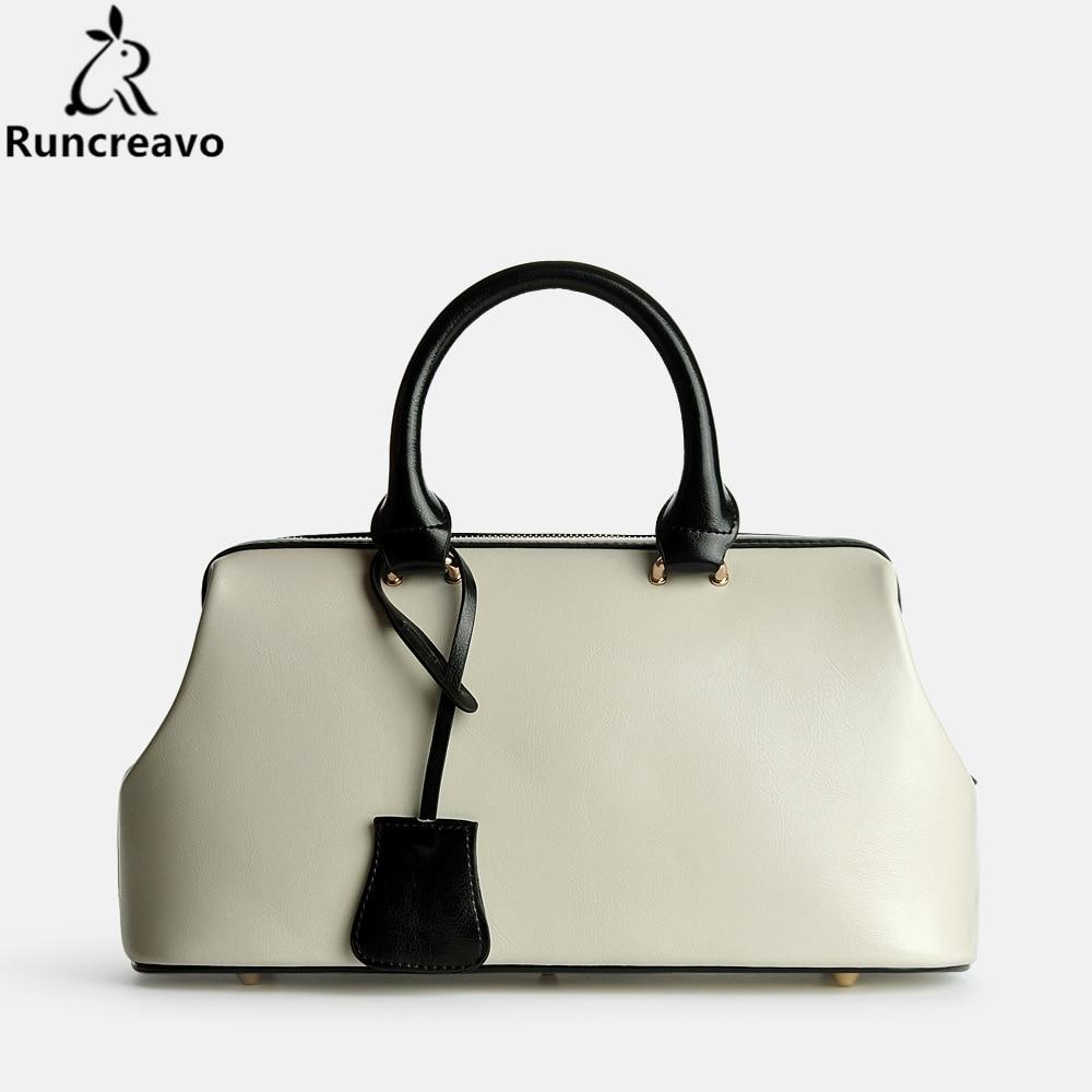 Runcreavo 2018 Genuine leather bag dollar price luxury handbags women bag designer famous brands vintage handbags messenger bags