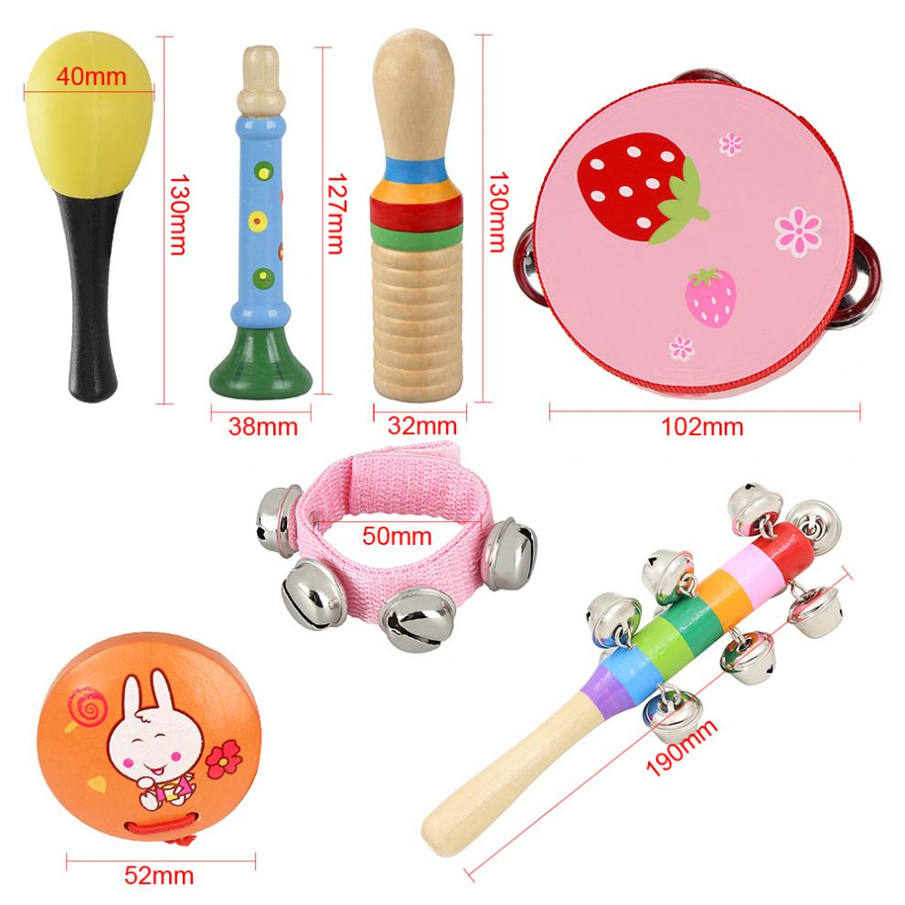 Купить с кэшбэком 11pcs 4 Inch Percussion Musical Instruments Set Tambourine Maracas Wrist Bells Mixed Kit for Children Baby Early Education