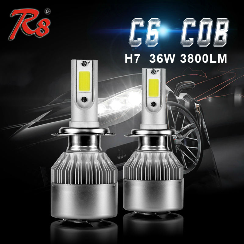 ФОТО Most Popular C6 All In One Car Headlight H1 H3 H7 H8 H11 HB3 9005 9006 880 LED Bulbs 36W 3800LM Plug and Play Slim Size