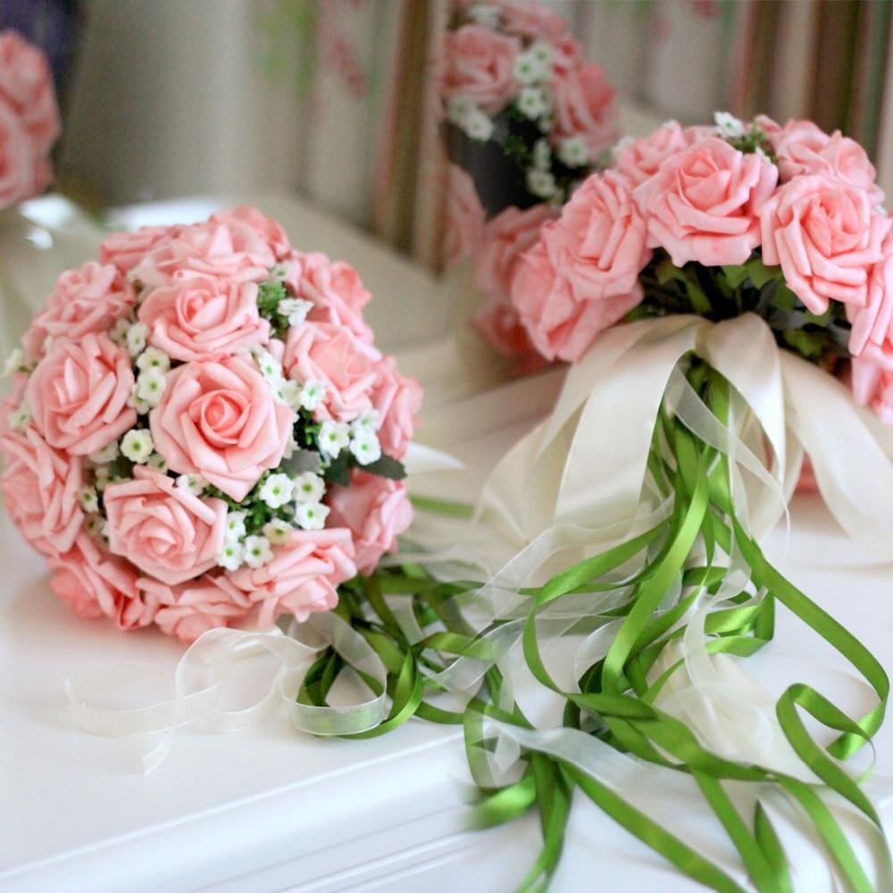 Designer Bouquet Of Bride Artificial Silk Rose Wedding Bridal Flower