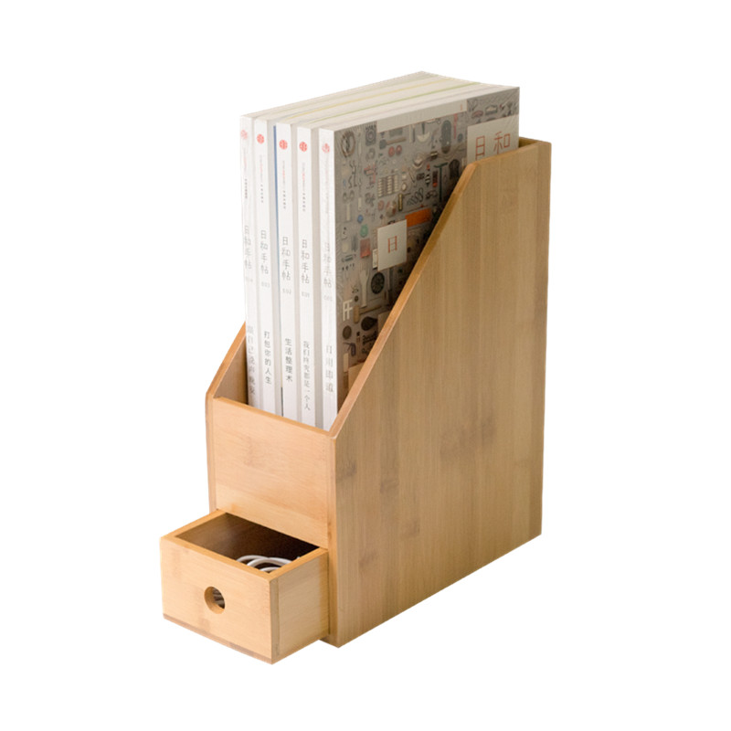 Bamboo Office File Rack Desk Organizer with Drawer Study Room Book Shelf A4 Paper Storage Holder Eco Natural Storage Box