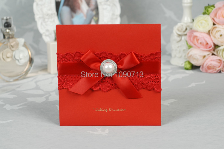 Free Personalized Wedding Invitations: Free Shipping 40 X Creative Euro Red Lace Wedding