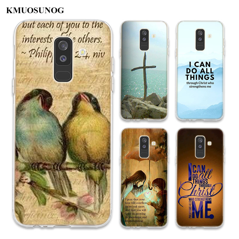 Transparent Soft Silicone Phone Case Bible verse Philippians For Samsung Galaxy A6 A6 A9 A8 Star A8 A7 A5 A3 Plus 2018 2016 in Fitted Cases from Cellphones Telecommunications
