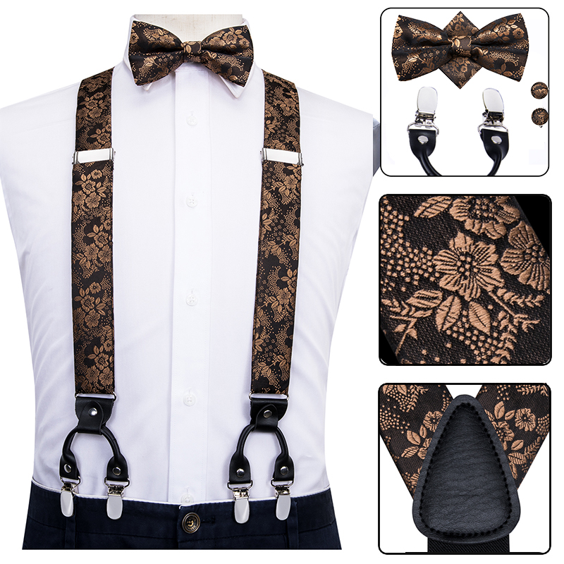 Hi-Tie Silk Adult Men's Suspenders Set Leather Metal 6 Clips Braces Gold Brown Floral Vintage Men Elastic Wedding Suspenders Men