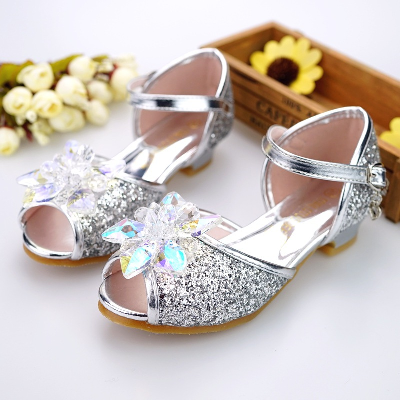 Image 2 - Children shoes girls high heel summer shoes for girls fashion blue crystal wedding sandals fish mouth princess shoes JHL502 1-in Sandals from Mother & Kids