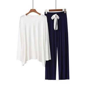 Image 3 - Женский пижамный комплект, однотонная свободная пижама с длинным рукавом и брюки с круглым вырезом, комплект из 2 предметов, весна осень 2019
