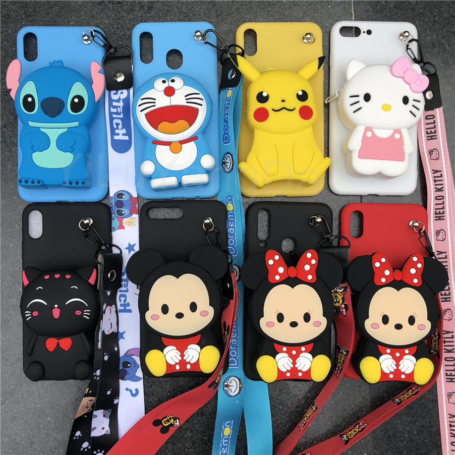 Cartoon Stitch Minnie Zipper Wallet Phone <font><b>Case</b></font> for <font><b>OPPO</b></font> <font><b>A39</b></font> A57 A59 A71 A73 A77 A79 A83 A3 A3S A5 A7 A7X A9 Soft Silicone Cover image