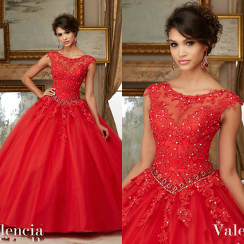 Red Bead Quinceanera Dresses Cap Sleeve Jewel Neck Sweet 16 Masquerad Gowns Lace Appliqued Tulle Debutante Ragazza Dress Lace Up