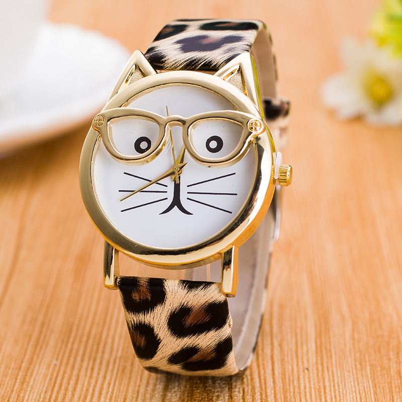 CAY Leopard Cat Face Women Geneva Watch Leather Strap Analog Quartz Wrist Watches Kids Clock Gold Ladies Watch Relogio Feminino
