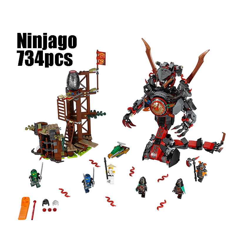 Compatible Legoe Ninjago 70626 Lepin 06042 734pcs blocks Ninjago Figure Dawn of Iron Doom toys for children building blocks 0367 sluban 678pcs city series international airport model building blocks enlighten figure toys for children compatible legoe
