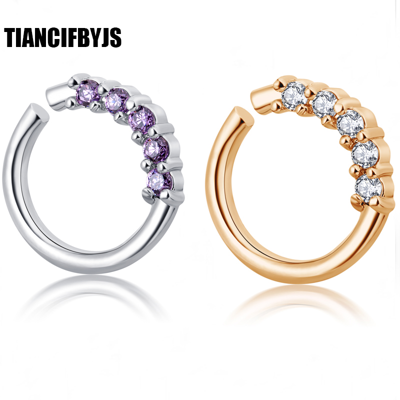 TianciFBYJS Brass Fake Nose Ring silver septum rings Piercing Body skeleton Circular Barbell Zircon Body Jewelry Tragus Ear