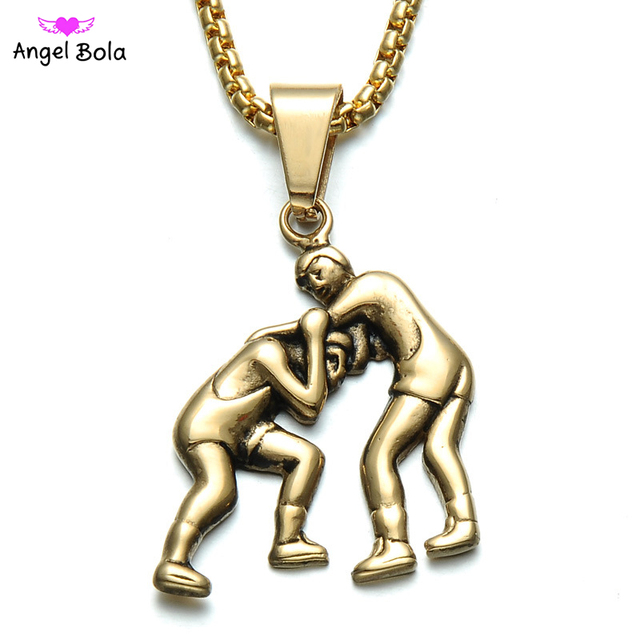 Gold color titanium stainless steel sports gym fitness wrestling gold color titanium stainless steel sports gym fitness wrestling wrestlers pendant necklaces for men jewelry free aloadofball Image collections