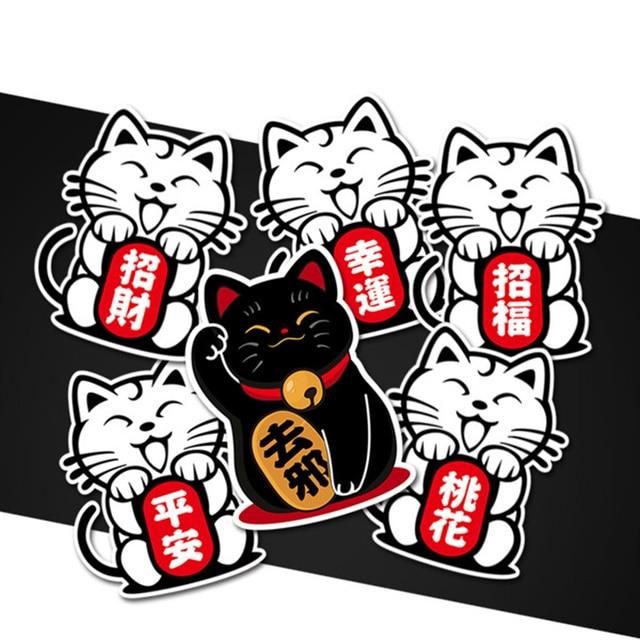 5pcs settraditional lucky cat maneki neko safe wealth ward off evil logo car sticker auto