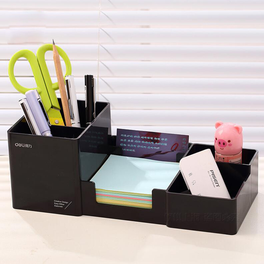 Korea Multifunctional Plastic Pen Holder 25*11*9cm Office School Student Stationery Desk Organizer Holder Set