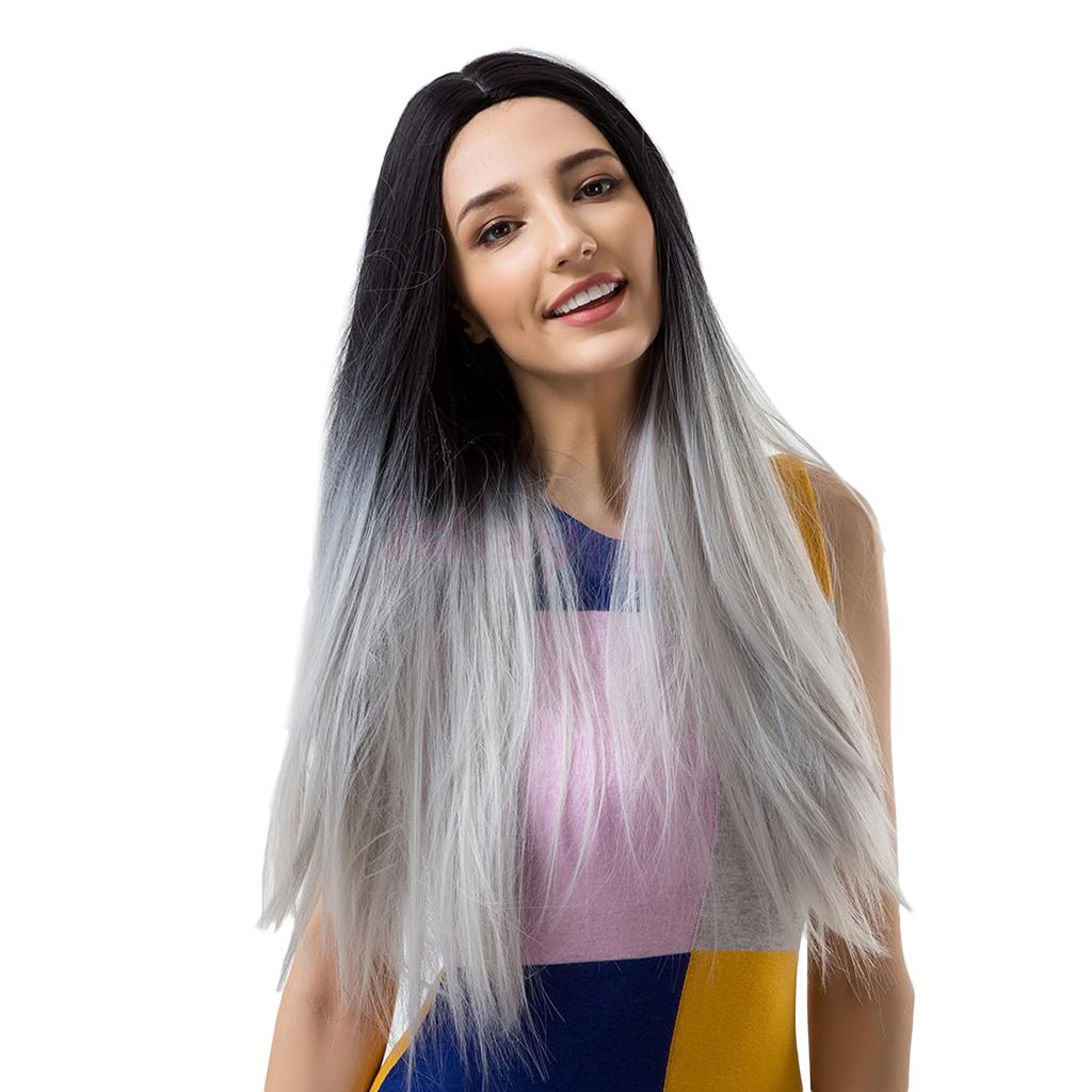 Fashion 26 Long Straight Black Root to Grey Ombre Synthetic Wig Premium Heat Resistant Hair Full Wigs with Hair Net