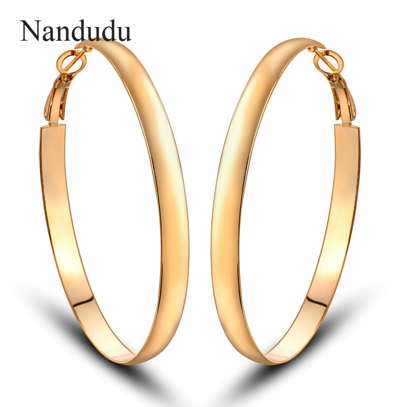 Nandudu Dia 2.2'' Hoop Earrings Women Oversize Big Earring Accessories Hot Sale Female Fashion Jewelry Gift CE81