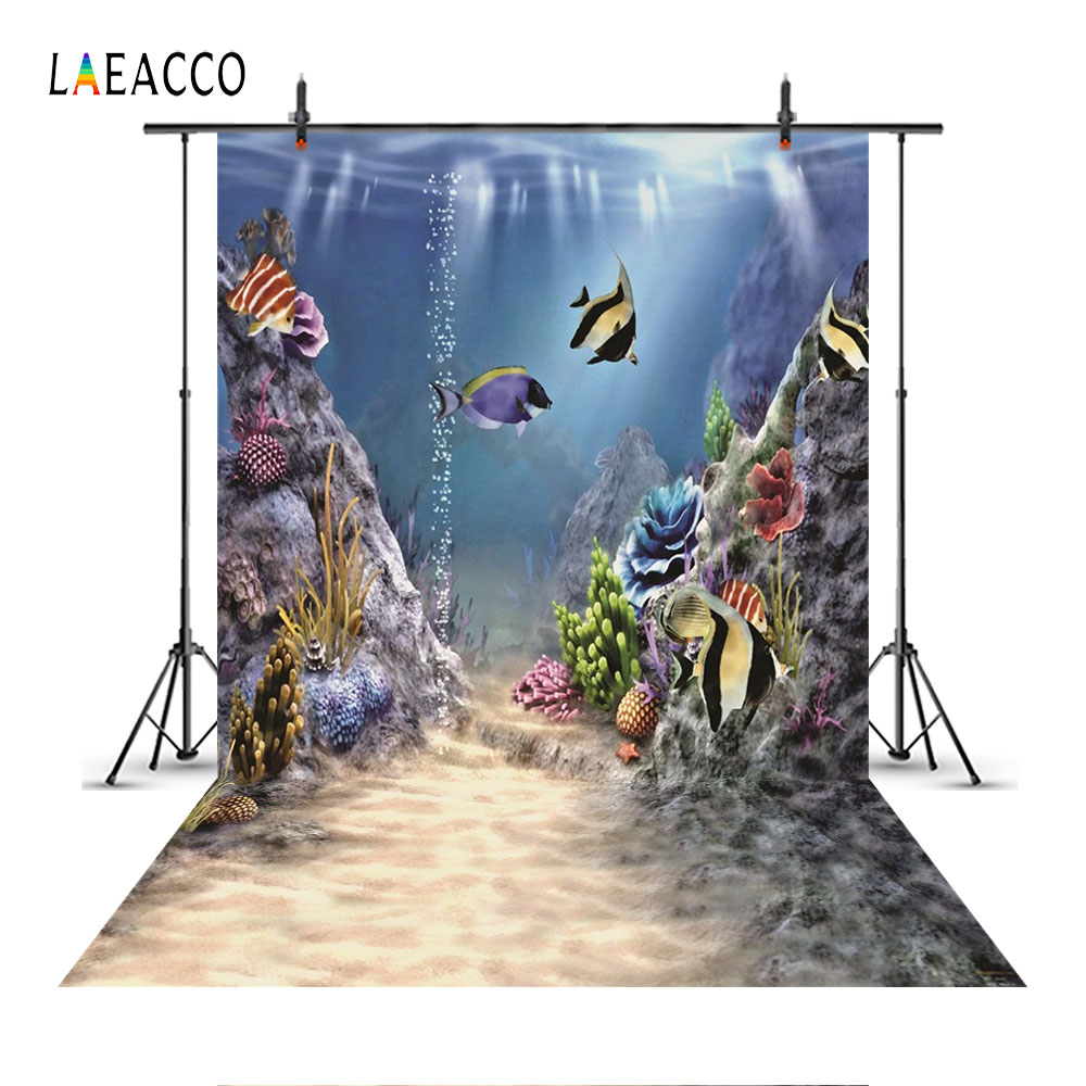 Laeacco Cartoon Underwater World Fishes Scenic Party Baby Photography Backgrounds Custom Photographic Backdrops For Photo Studio in Background from Consumer Electronics