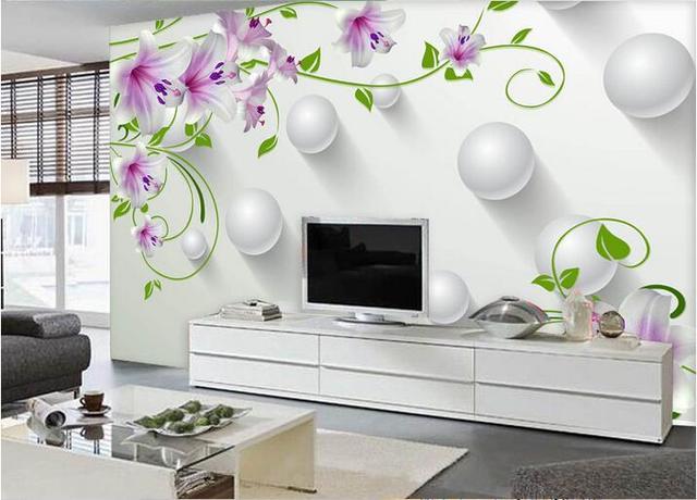 Personnalisé photo 3d papier peint Non tissé mural violet lys vert ...