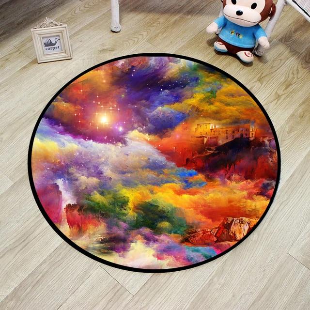 Мода космические звезды galaxy carpet 3d печати ковры круглый коврик компьютерный стол диван коврик ползать коврик для ванной комнаты non-slip мат