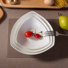 Jingdezhen household kitchen white bone soup pasta salad dish meal triangular plate ceramic plates