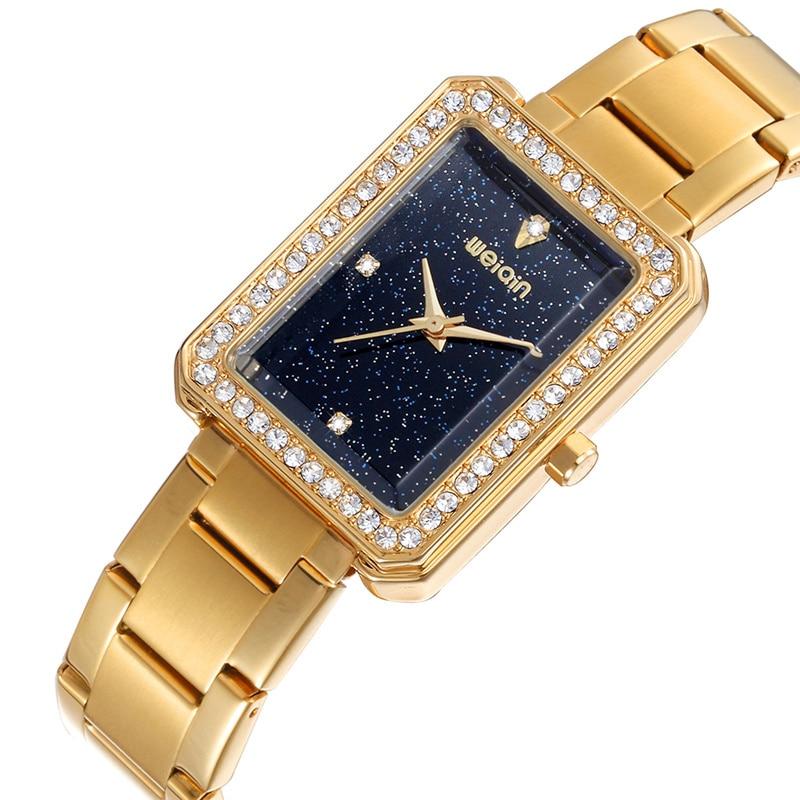 WEIQIN Rectangle Rhinestone Women's Watches Top Brand Luxury Female Quartz Clock 5 Colors Ladies Fashion Bracelet Wrist Watch weiqin 1096 fashion rhinestone scale quartz watch for female