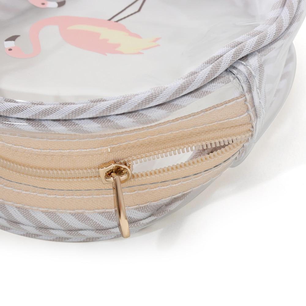1pc Flamingos Mini Coin Purse Transparent Wallet Waterproof Zipper Money Pouch Bag Flamingo Print Round Cosmetic Storage Box Coin Purses