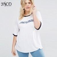 Basic Plus Size Vrouwen T-Shirt Oversize Mermaid Print Tumblr Tee Plus Size Eenvoudige Ultieme Gemakkelijk Wit Tuniek Lange Tshirt 5XL 6XL