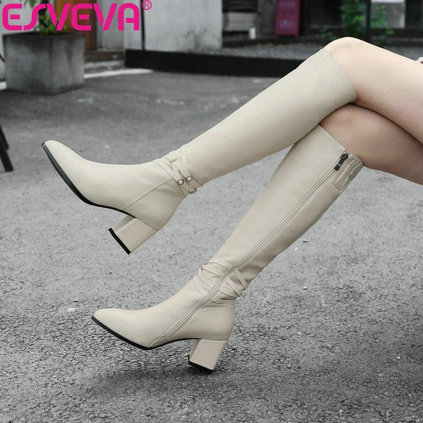 Esveva 2020 신발 여성 오토바이 부츠 지적 발가락 가을 무릎 높은 부츠 광장 하이힐 신발 허벅지 높은 부츠 크기 34 39-에서무릎 - 하이 부츠부터 신발 의  그룹 1