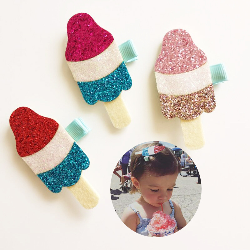 2017 New Fashion Girls Hair Clips Cute Glitter Felt Ice Cream Design Hairpins Baby Children Kids Summer Hair Accessories new colorful ribbon baby hair clips hollow bow hairpins children hair accessories circle protect well wrapped flower barrettes