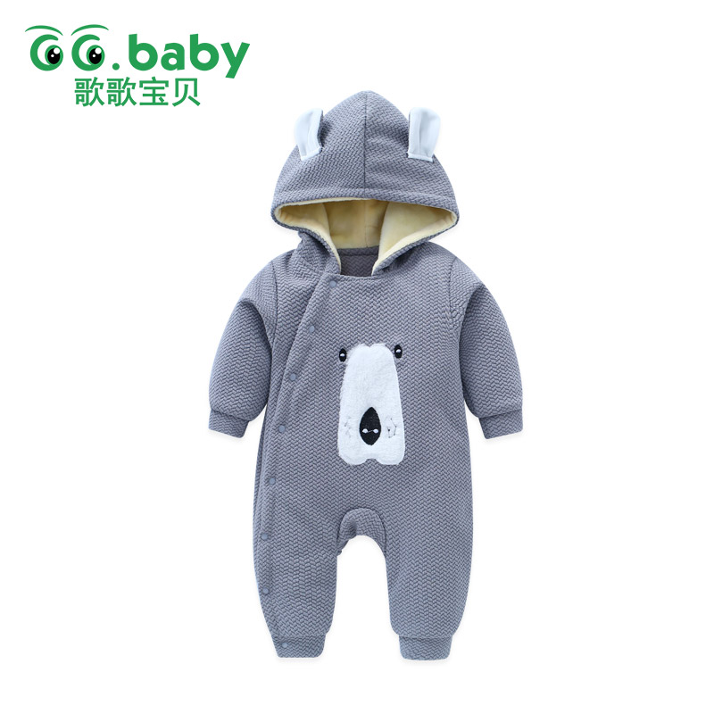 Hooded Warm Kit Newborn Boy Baby Rompers Clothes Winter Overalls Long Sleeve New Born Jumpsuit Baby Girl Romper Infantil Romper 2017 new baby rompers winter thick warm baby girl boy clothing long sleeve hooded jumpsuit kids newborn outwear for 1 3t