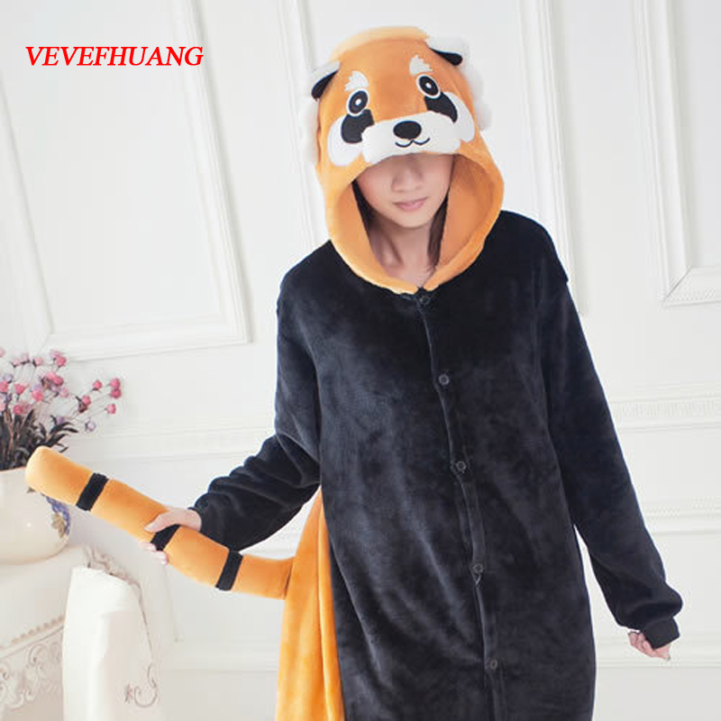 VEVEFHUANG Cheap Adults Winter Flannel Cute Cartoon Animal Raccoon Pajamas Onesie Red Panda Cosplay Costume For Men Women