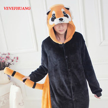 VEVEFHUANG Adulti Economici Inverno Flanella Cute Cartoon Animal Raccoon Pigiama Tutina Panda Rosso Costume Cosplay Per Le Donne Degli Uomini(China)