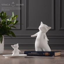 ceramic Creative fox fruit Candy Storage dish Dessert Snack Salad plate home decor wedding decoration handicraft figurine