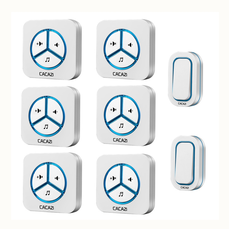 CACAZI doorbell 280M remote AC 110-220V US/EU/UK Plug 2 waterproof buttons+6 receivers Wireless Door bell 48 rings door chime cacazi ac 110 220v wireless doorbell 1 transmitter 6 receivers eu us uk plug 300m remote door bell 3 volume 38 rings door chime