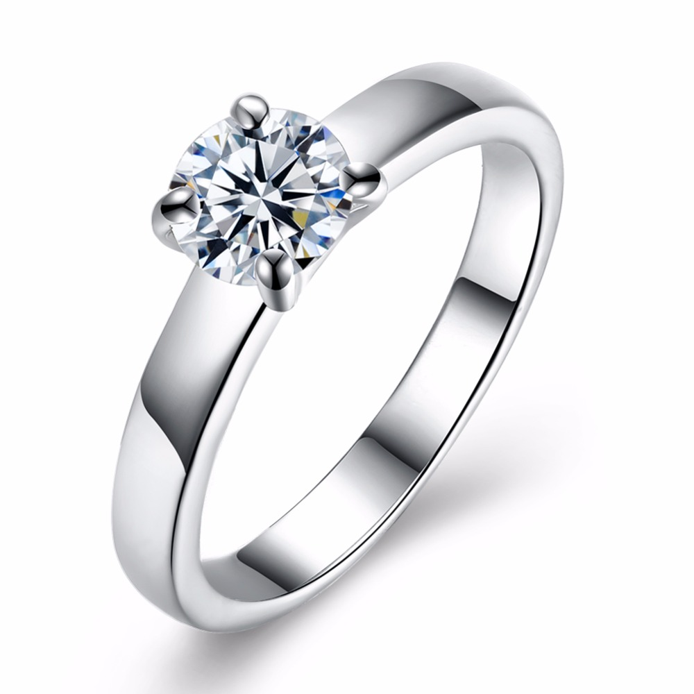 Engagement Rings Women Accessorise Gift Fashion Jewelry Classic Silver-Color Cubic-Zirconia