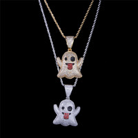 1PC Cute ghost Emoji pendant Funny tongue spout cute expression hip hop twist chain pendant For Women Men Jewelry CZ Chain