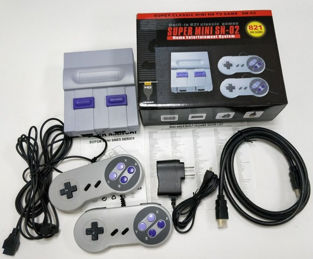 8Bit Mini HD HDMI TV Retro Family Video Game Console Handheld Built-in 821 Classic for SNES Games Dual Gamepad Player PAL&NTSC