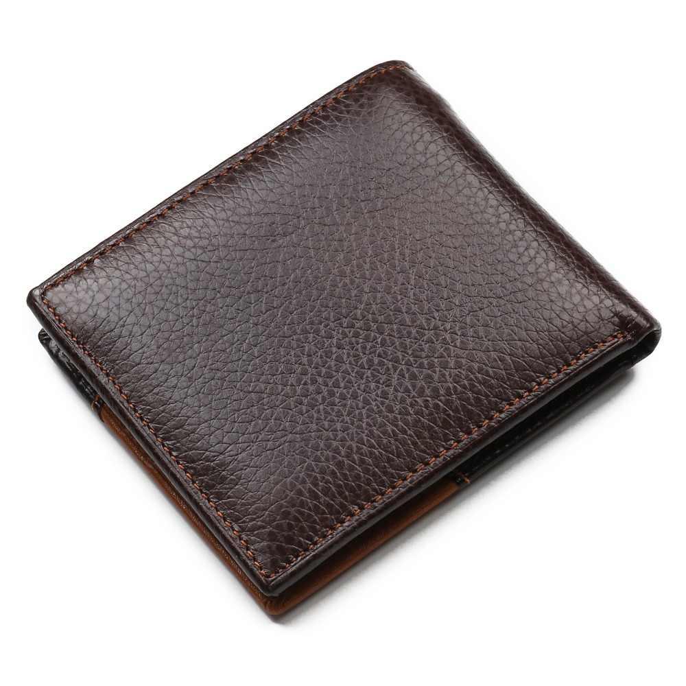 100% коровья натуральная кожа мужской кошелек много отходит мужчины ts Короткие Двойные мужские кошельки на молнии монета карман держатель для карт кошельки мужские кошельки