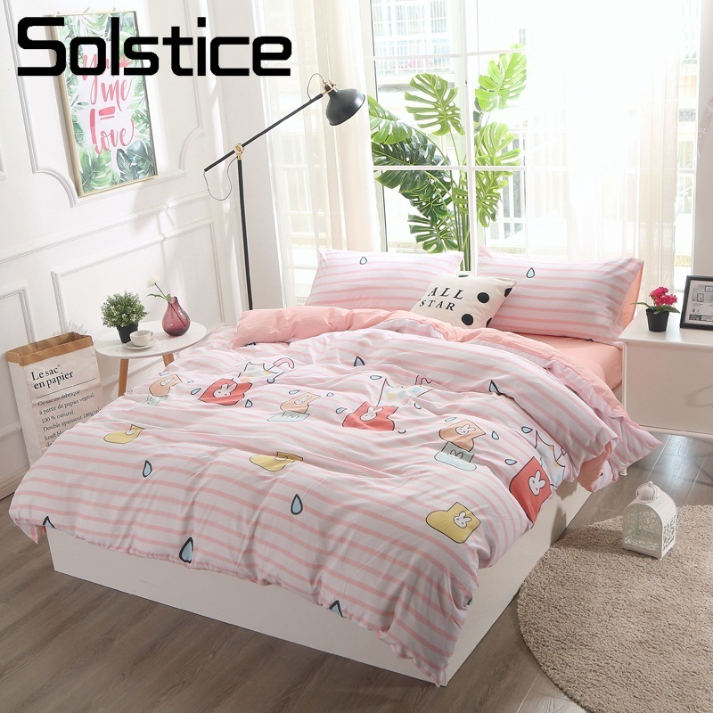 Solstice Pillowcase Boot Sheet Bunny Stripe Linens-Set Duvet-Cover Teen Bedding Home-Textile