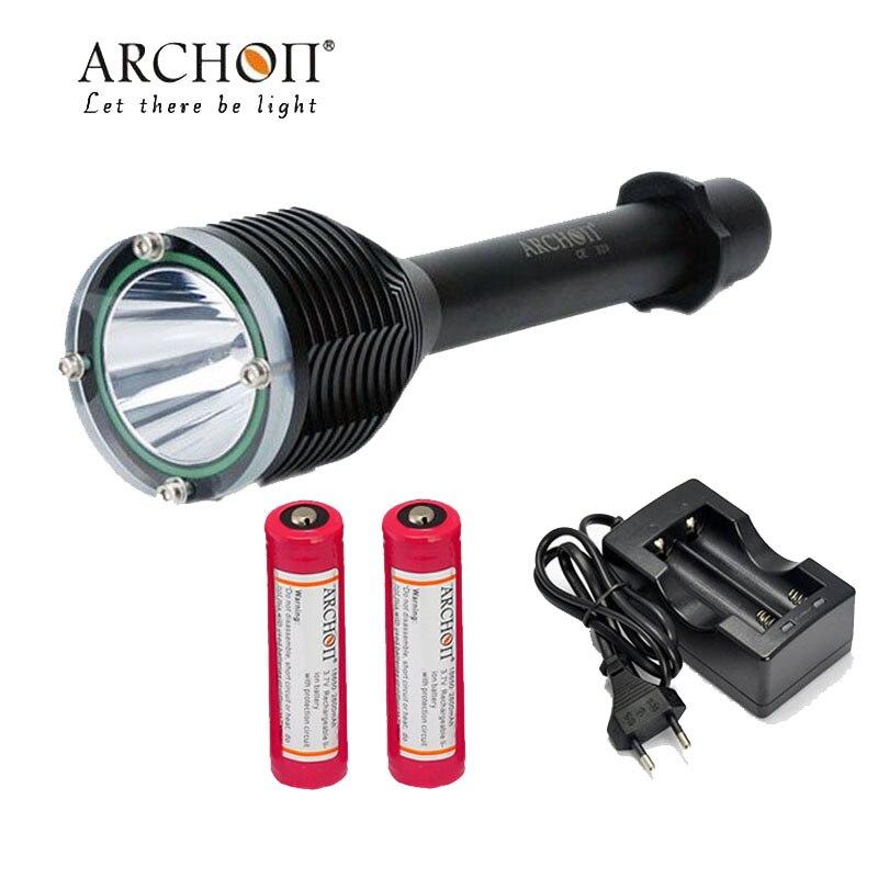 100% Original  ARCHON D20 diving torch Cree XM-L T6 1200 Lumen 3-Mode Professional Diving Led Flashlight+18650 battery charger