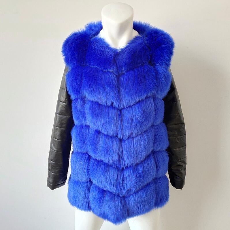 UPPIN шуба Новые Большие размеры меховое пальто с рукавами из искусственной кожи женская зимняя куртка из искусственного меха лисы Женская Осенняя модная теплая верхняя одежда пальто шуба из искусственного меха шубы - Цвет: Королевский синий
