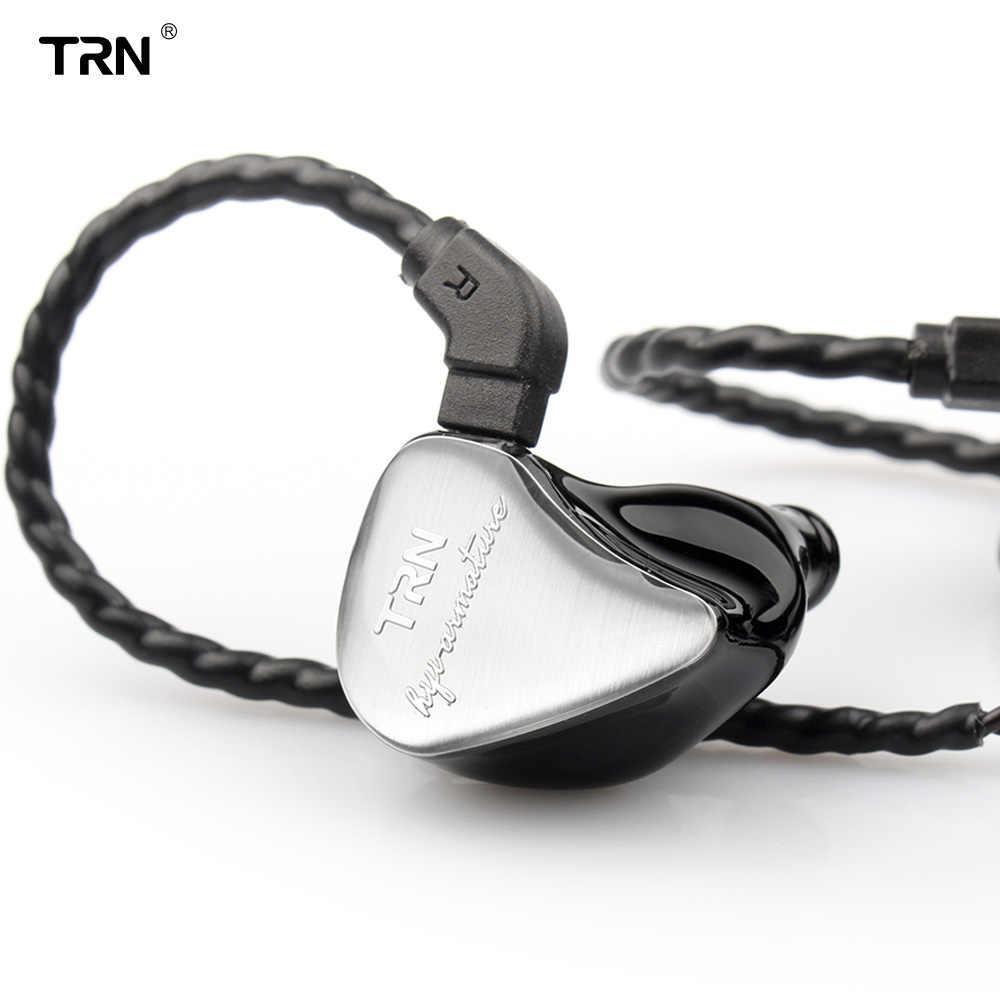 TRN IM1 1BA + 1DD Hybrid w ucho słuchawka podwójny sterownik jednostka Monitor Sport etap IEM HIFI odpinany Detach 2Pin kabel niestandardowy zestaw słuchawkowy
